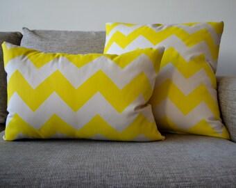Cushion Cover Neon Yellow Chevron Pattern Handmade Size 50cm x 35cm
