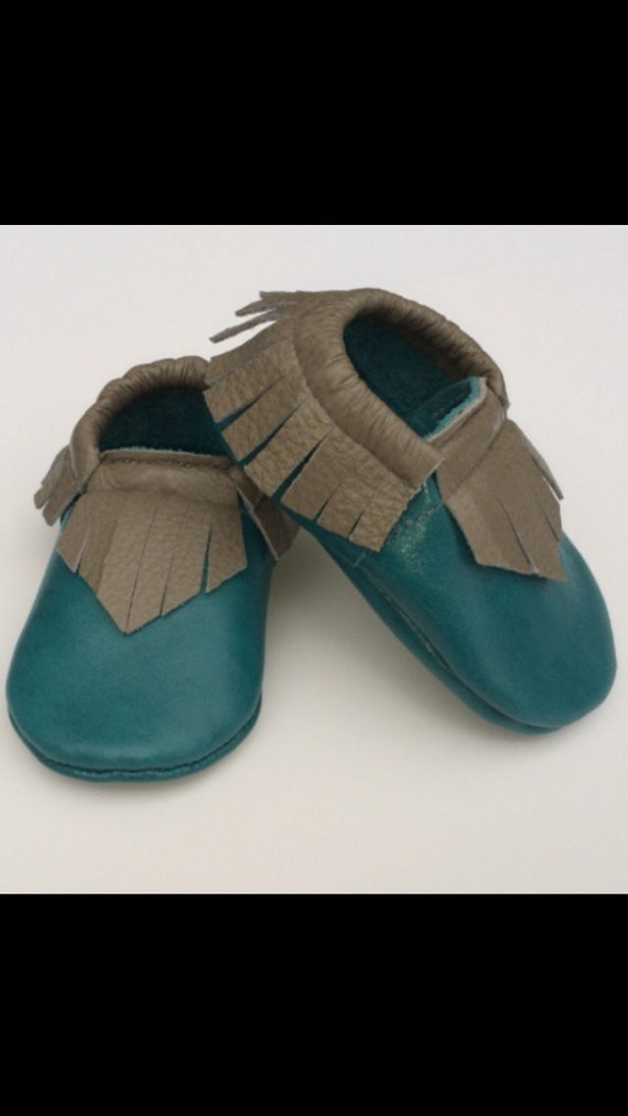 Turquoise & grey leather moccasins