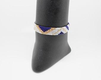 woven miyuki graphic motifs, Golden, white and blue Beads Bracelet