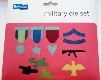 New Quickutz MILITARY Die Set plus  EZ Store Die, Ejection Foam & Shim Sheets medal camouflage gun Works with Sizzix and Cuttlebug