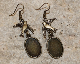 bronze oval cabochon support 13 X 18 mm bird earrings