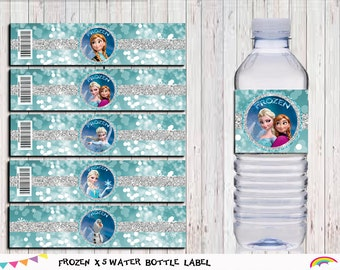 Frozen Birthday Water Bottle Labels Printable, Frozen  Party Supplies, Party INSTANT DOWNLOAD