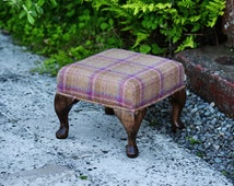 Small Footstool - Abraham Moon Heritage Berry Fabric