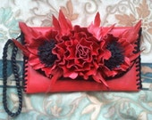 Leather clutch handmade, Evening bag, Leather bag, Red bag, Christmas gift, Gift for her, Woman bag, Handmade bag.