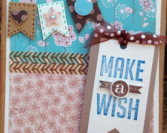 Handmade birthday card-birthday card-happy birthday- make a wish -pennant -