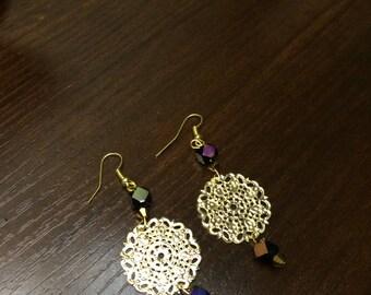 Gold dangle beaded earrings