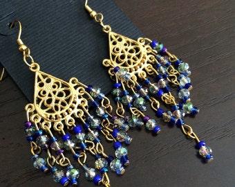 Golden blue chandelier earrings