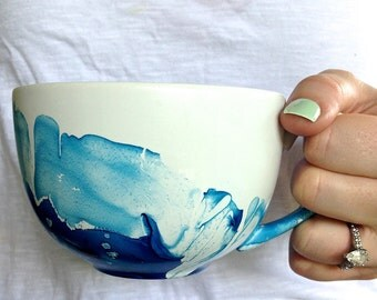 16 OZ. blue watercolor mug