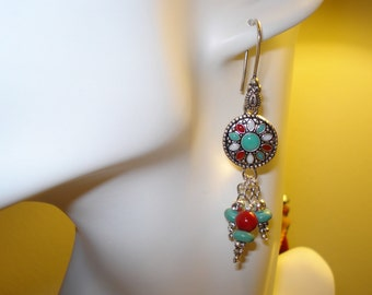 Turquoise, Red & White Colored Earrings