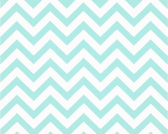 1/2 Yard Mint and White Chevron Fabric - Premier Prints Minte and White Zig Zag Chevron Fabric HALF YARD