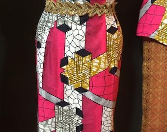 Pink Geo Pencil Skirt