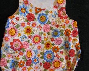 Baby Girl Bubble/Romper.  Modern Floral Print.  Size Large