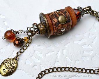 Cork Necklace - Steampunk Necklace - Boho Necklace - Boho Jewelry - Bauble Necklace - Charm Necklace - Steampunk Jewelry - Statement Pendant