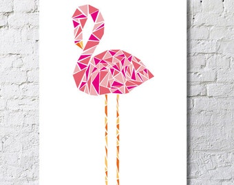 Geometric-shaped pink flamingo poster