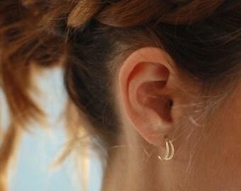 DOUBLE hoop SILVER earrings, silver hoop earrings, hoop earrings, dainty hoop earrings,