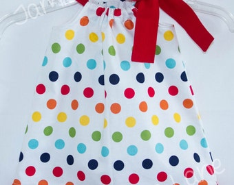 Pretty Rainbow Polka dot Pillowcase style dress