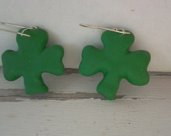 Handmade Shamrock Drop Earrings -polymer clay