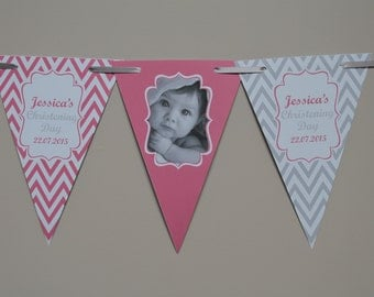 Personalised Photo Christening Bunting  Banner Party Decoration Chevron Flags