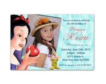 Snow White Birthday Party Photo Invitations - Printable