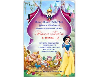 Princess Snow White Birthday Invitations - Printable or Printed