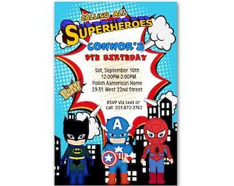 Printable File Custom Superhero Birthday Invitations