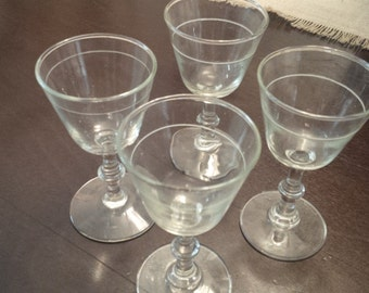 Vintage Etched Glass Cordials