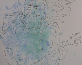 Print,Jerry Garcia,Jerry Garcia Art,Jerry Garcia Painting,Jerry Garcia Watercolor, Jerry Garcia Ink Drawing,Grateful Dead,Grateful Dead Art
