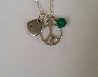 Monogram peace sign necklace, initial peace sign necklace, personalized peace sign necklace,   you chose the color crystal