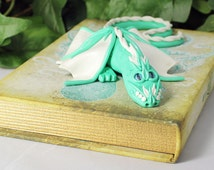 Polymer Clay Sea Green Dragon Sculpture Book - Dragon Storage - OOAK - Polymer Clay Dragon - Dragon Book - Dragon Sculpture