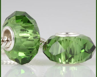 Charm bead faceted CRYSTAL and 925 SILVER core, fits Pandora and European bracelets, green pearl