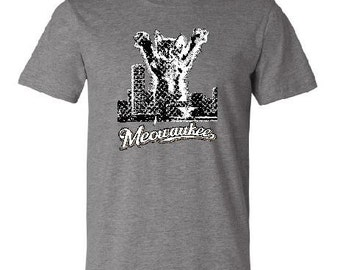 MEOWAUKEE T-Shirt, Deep Heather, Cotton, 414, Milwaukee WI, funny