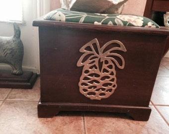 mahogany storage box , pineapple box, storage pineapple, storage box,  brass pineapple