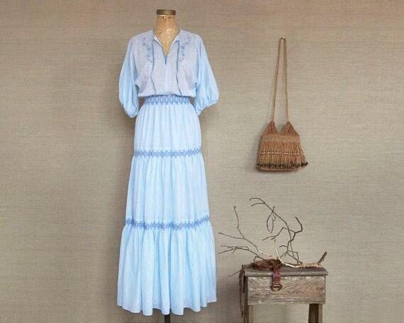 vintage hippie kleid leichte blaue kleid romantischen boho. Black Bedroom Furniture Sets. Home Design Ideas