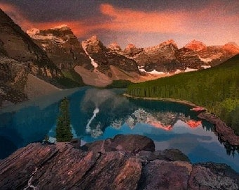"""Print of watercolor """"Moraine Lake, Alberta Canada"""", Wall art, Art and Collectibles, Print on canvas, Banff National Park"""