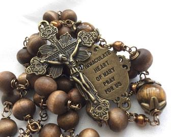 Handmade Wood Bead Rosary