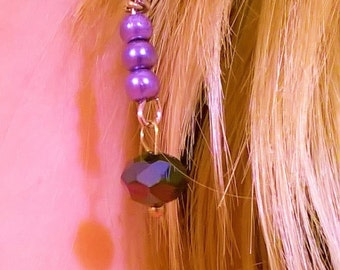 Purple glass bead earrings.
