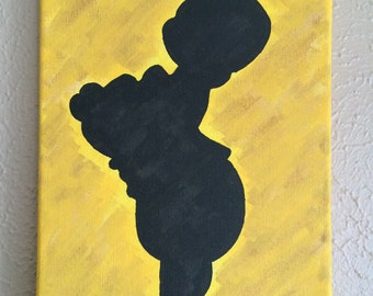8x10 Acrylic Hand Painted Winnie the Pooh Silhouette