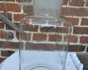 Very large vintage pharmacy bottle in hand blown glass