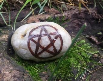 SALE - Pentacle Amulet River Rock - Brown