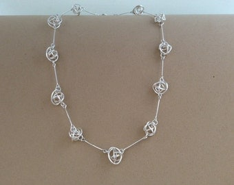 Argentium Silver knot link necklace.