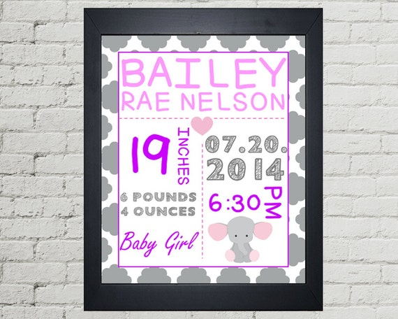 Baby Girl Birth Stat Announcement Printable Wall Art