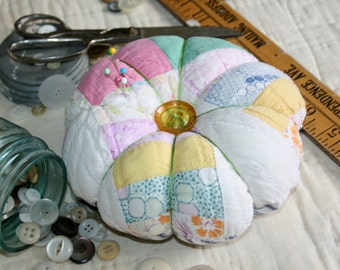 Jumbo Shabby Chic Pin Cushion From Vintage Cutter Quilt