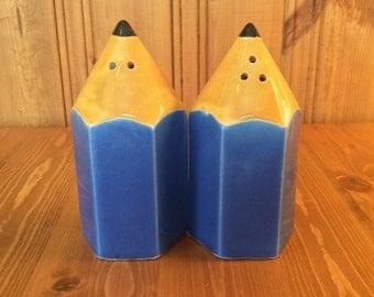 Blue Pencils - Vintage Salt and Pepper Shakers