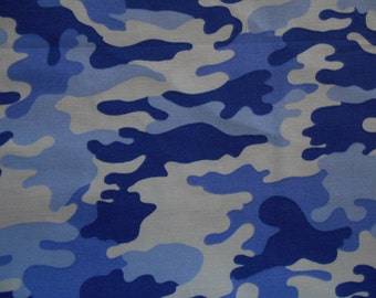 Blue Camo cotton fabric by the yard
