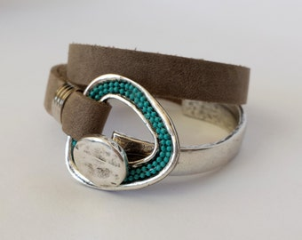 Bracelet Wrapped Leather Silver Plated Metals and Pewter with Turquoise Metal Chain, Christmas Gift For Her