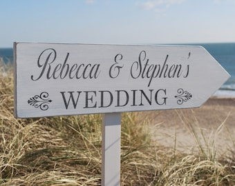Personalised Pointed Directional Wedding Sign Post