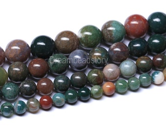 Indian Agate Beads, Fancy Jasper Beads, Round Natural Indian Agate Full Strand, 4 6 8 10 12 14 16mm Agate Stone Beads Supplies Bulk