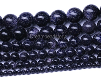 Blue Sandstone Beads, Smooth Round Natural Blue Sandstone Beads, 4 6 8 10 12 14 16mm Real Blue Sandstone Strands, DIY Stone Beads (B109)