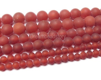 Carnelian Frosted Beads, Frosted Carnelian Beads, Natural Red Agate Beads, Carnelian Full Strand, 4 6 8 10 12mm Agate Stone Red Beads (B25)