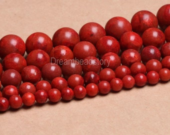 Natural Red Sponge Coral 8mm 10mm 12mm 14mm Red Coral Beads for Jewelry Making (B100)